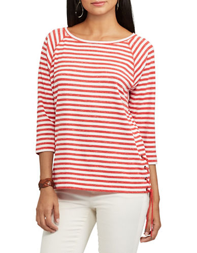 Chaps Petite Striped Lace-Up Pullover-RED/WHITE-Petite Medium