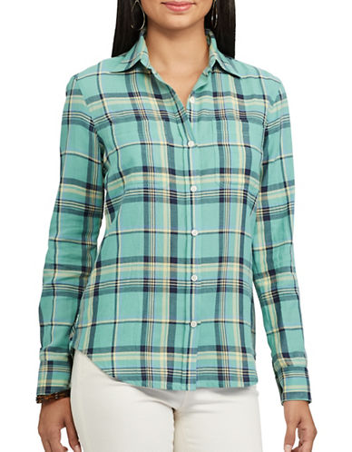Chaps Petite Plaid Cotton Twill Shirt-GREEN-Petite Large