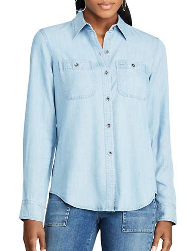 Chaps Petite Chambray Button Shirt-BLUE-Petite Large
