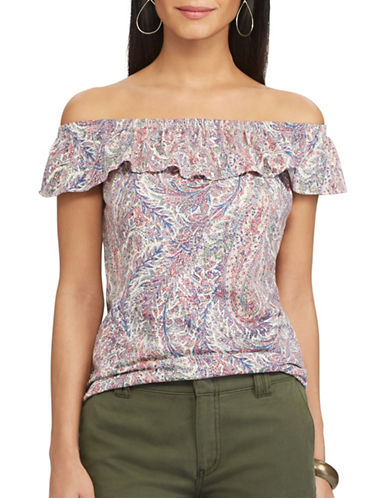Chaps Petite Paisley-Print Off-the-Shoulder Top-PINK-Petite X-Large
