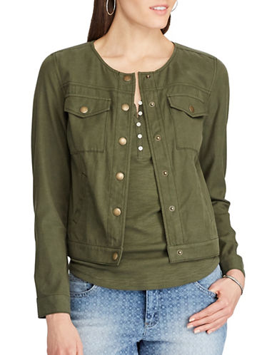 Chaps Petite Cropped Twill Jacket-GREEN-Petite Medium