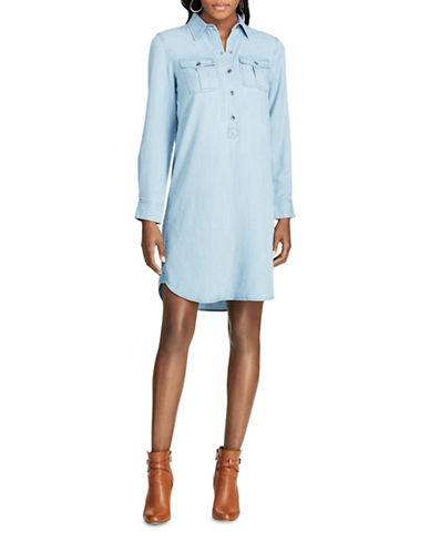 Chaps Petite Twill Shirtdress-BLUE-Petite Medium