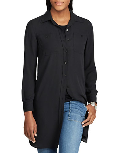Chaps Petite Georgette Button-Down Tunic-BLACK-Petite Large