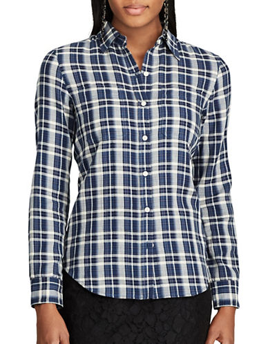 Chaps Petite Plaid Cotton Button-Down Shirt-MULTI-Petite Medium