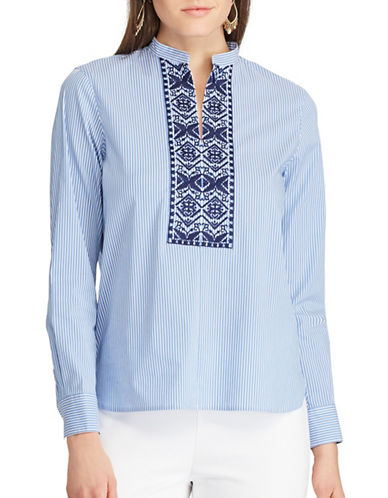 Chaps Petite Embroidered Striped Tunic-BLUE-Petite Small