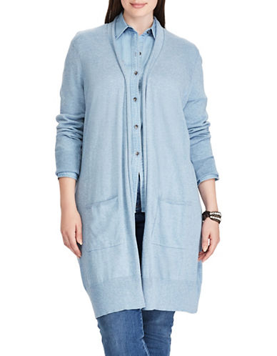 Chaps Plus Open-Front Cardigan-BLUE-2X