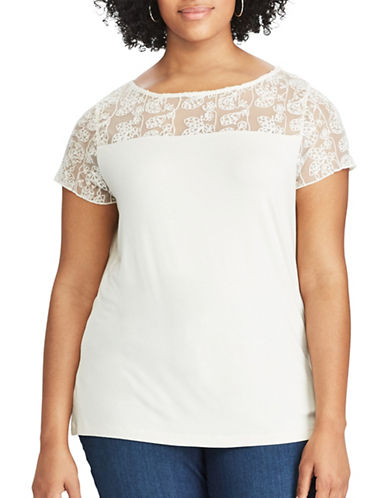 Chaps Plus Lace-Trim Jersey Tee-WHITE-2X