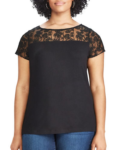 Chaps Plus Lace-Trim Jersey Tee-BLACK-1X