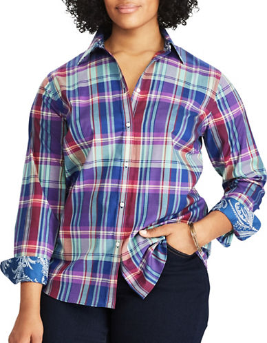 Chaps Plus Plaid Cotton Button-Down Shirt-PURPLE MULTI-2X