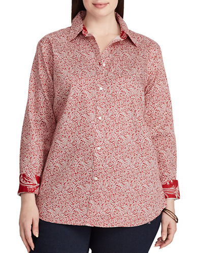 Chaps Plus Floral Cotton Button-Down Shirt-RED MULTI-1X