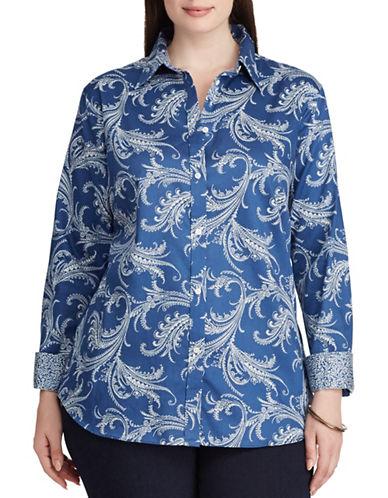 Chaps Plus Paisley Cotton Button-Down Shirt-BLUE MULTI-3X