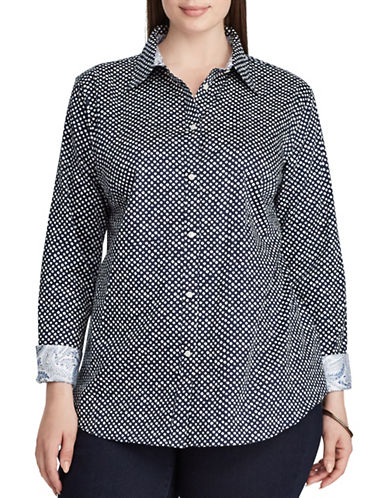 Chaps Plus Polka Dot Cotton Button-Down Shirt-NAVY MULTI-3X