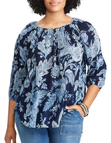 Chaps Plus Floral Cotton Peasant Top-BLUE MULTI-2X