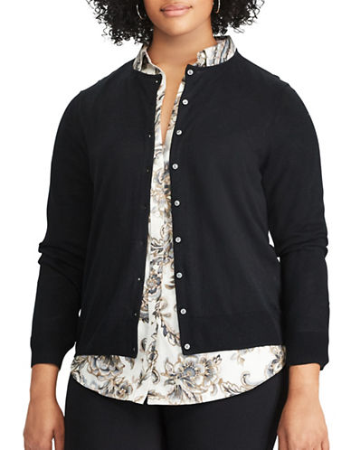 Chaps Plus Cotton-Modal Cardigan-BLACK-3X