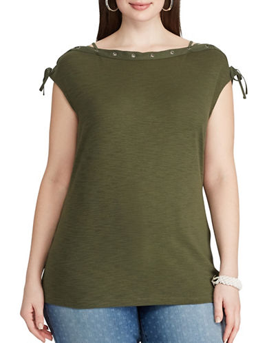 Chaps Plus Lace-Up Cotton Tee-OLIVE-1X