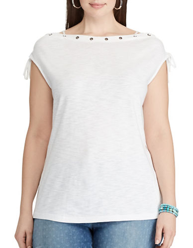 Chaps Plus Lace-Up Cotton Tee-WHITE-2X
