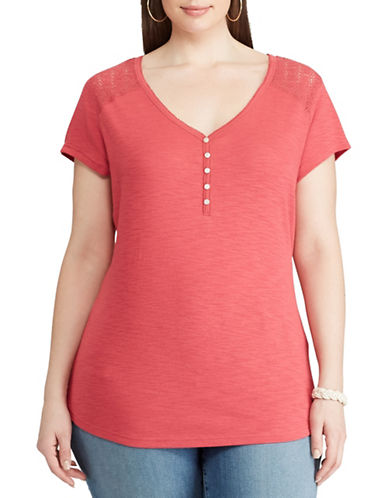 Chaps Plus Lace-Yoke Henley Top-RED-2X