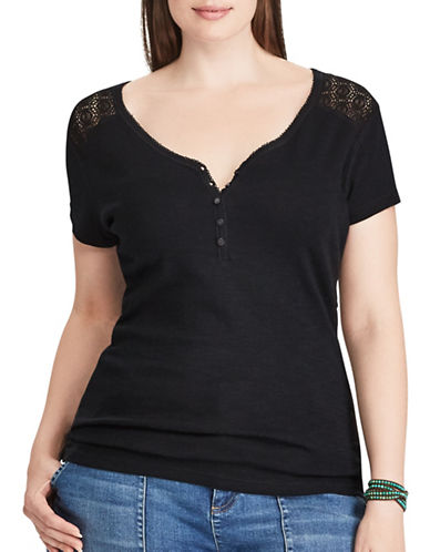 Chaps Plus Lace-Trim Cotton Henley-BLACK-1X