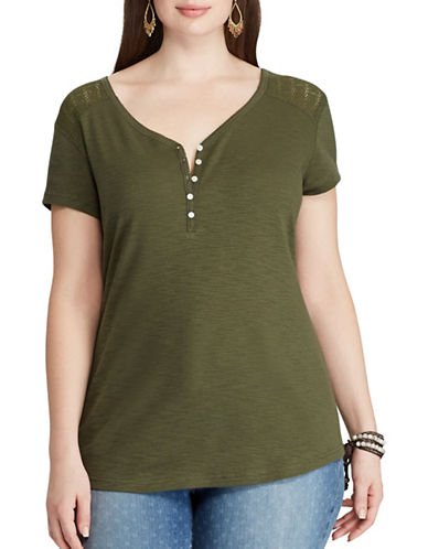 Chaps Plus Lace-Yoke Henley Top-OLIVE-1X