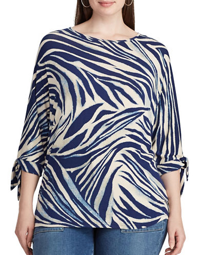 Chaps Plus Zebra-Print Jersey Top-MULTI-2X
