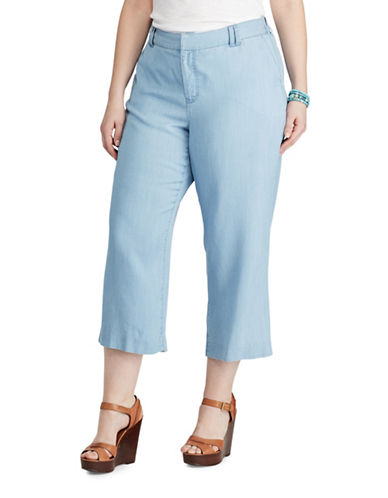 Chaps Plus Wide-Leg Capri Pants-BLUE-22W