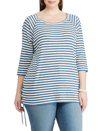 Chaps Plus Striped Lace-Up Pullover-BLUE-3X