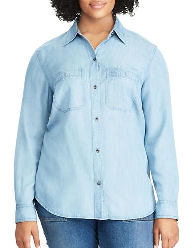 Chaps Plus Chambray Button-Down Shirt-BLUE-2X