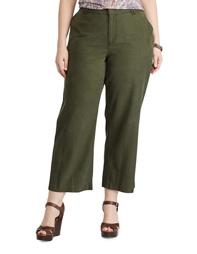 Chaps Plus Wide-Leg Capri Pants-GREEN-16W