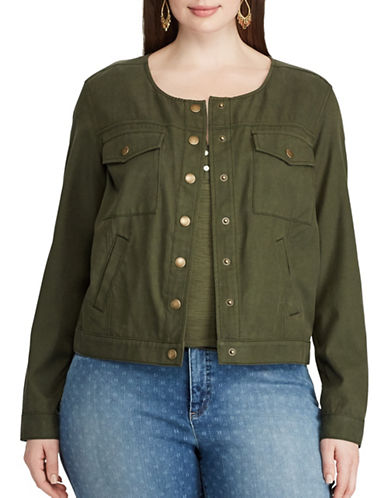 Chaps Plus Cropped Twill Jacket-GREEN-3X