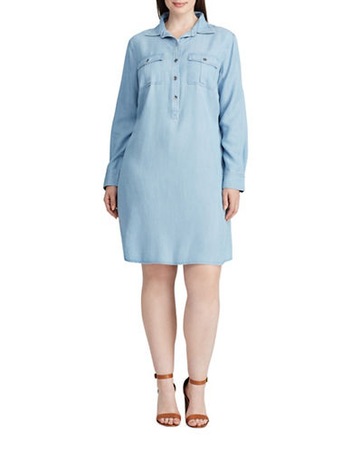 Chaps Plus Twill Shirt Dress-BLUE-1X