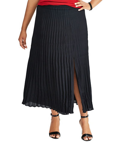 Chaps Plus Pleated Georgette Skirt-BLACK-1X