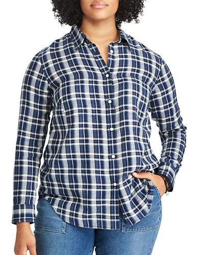 Chaps Plus Plaid Cotton Button-Down Shirt-MULTI-1X