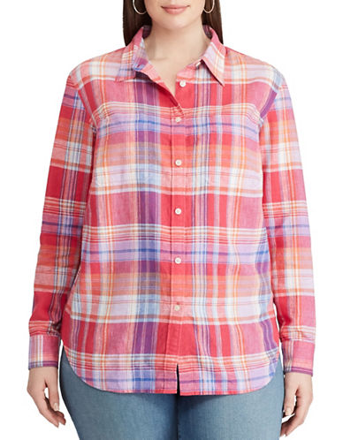 Chaps Plus Plaid Relaxed-Fit Shirt-PINK-2X