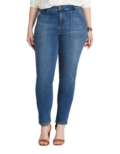 Chaps Plus Slim Fit Stretch Mid-Rise Jeans-BLUE-18W