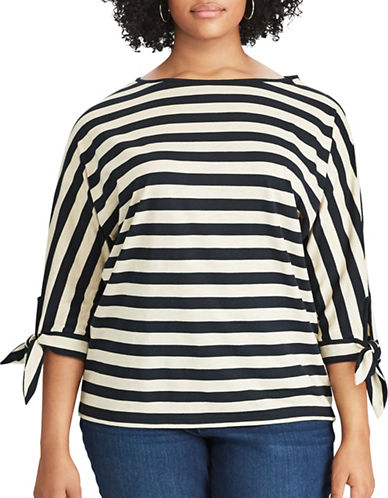 Chaps Plus Striped Jersey Top-BLACK MULTI-1X