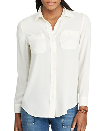 Chaps Petite Georgette Button Shirt-WHITE-Petite Medium