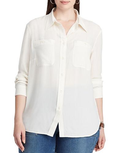 Chaps Plus Georgette Button-Down Shirt-WHITE-2X