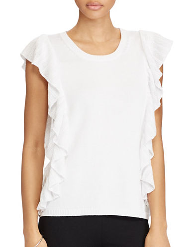 Lauren Ralph Lauren Ruffled-Trim Sleeveless Sweater-WHITE-Small 89209001_WHITE_Small