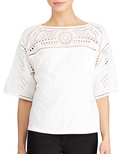Lauren Ralph Lauren Lodrya Eyelet-Embroidered Top-WHITE-Medium 89209010_WHITE_Medium