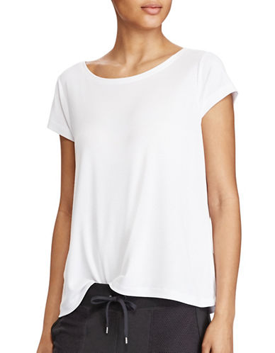 Lauren Ralph Lauren Pique Scoop Neck Tee-WHITE-X-Large 89209017_WHITE_X-Large