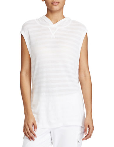 Lauren Ralph Lauren Striped Jacquard Sleeveless Hoodie-WHITE-Medium 89209025_WHITE_Medium