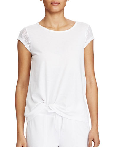 Lauren Ralph Lauren Mesh-Sleeve Stretch Cotton Tee-WHITE-X-Large 89209042_WHITE_X-Large