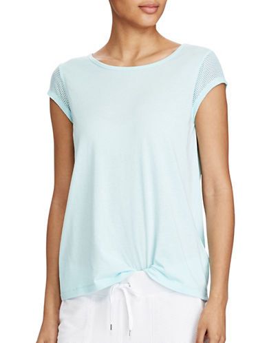 Lauren Ralph Lauren Mesh-Sleeve Stretch Cotton Tee-BLUE-Small