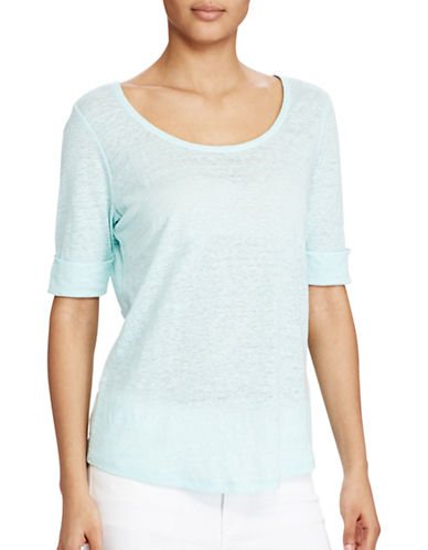 Lauren Ralph Lauren Linen Scoop Neck Tee-BLUE-Large
