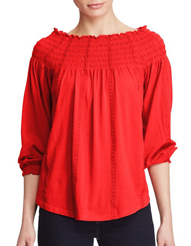 Lauren Ralph Lauren Smocked Off-the-Shoulder Top-RED-X-Large