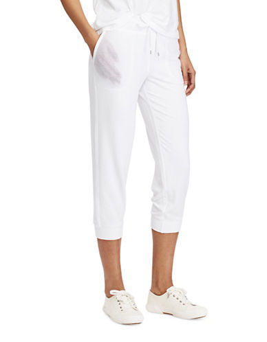 Lauren Ralph Lauren Cropped Skinny Sweatpants-WHITE-Medium 89209200_WHITE_Medium
