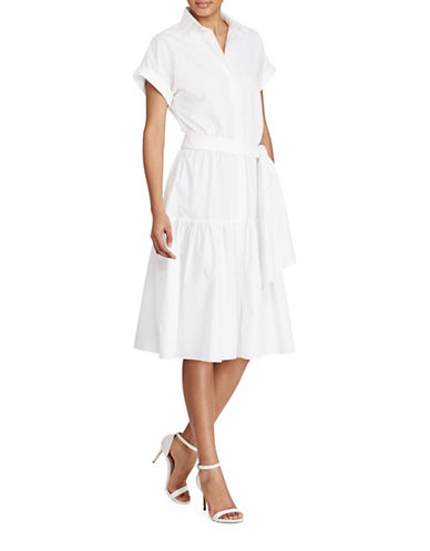 Lauren Ralph Lauren Cotton Fit-and-Flare Dress-WHITE-16