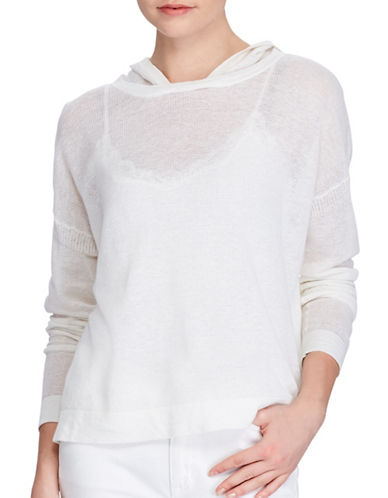 Lauren Ralph Lauren Linen-Cotton Hoodie-WHITE-X-Large 89209215_WHITE_X-Large