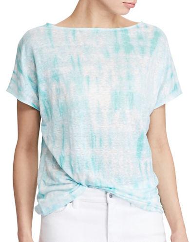 Lauren Ralph Lauren Tie-Dye Linen Knit Top-PINK-Small