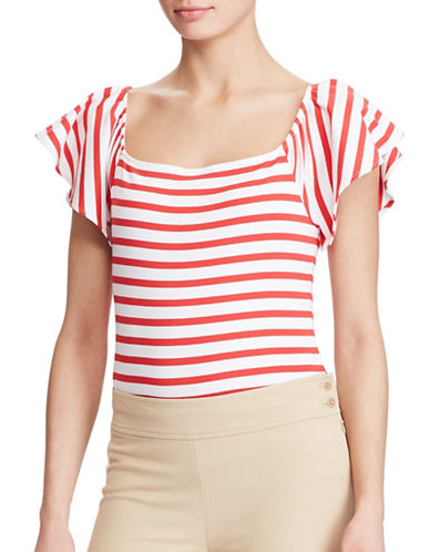 Lauren Ralph Lauren Striped Off-the-Shoulder Top-WHITE/RED-X-Large